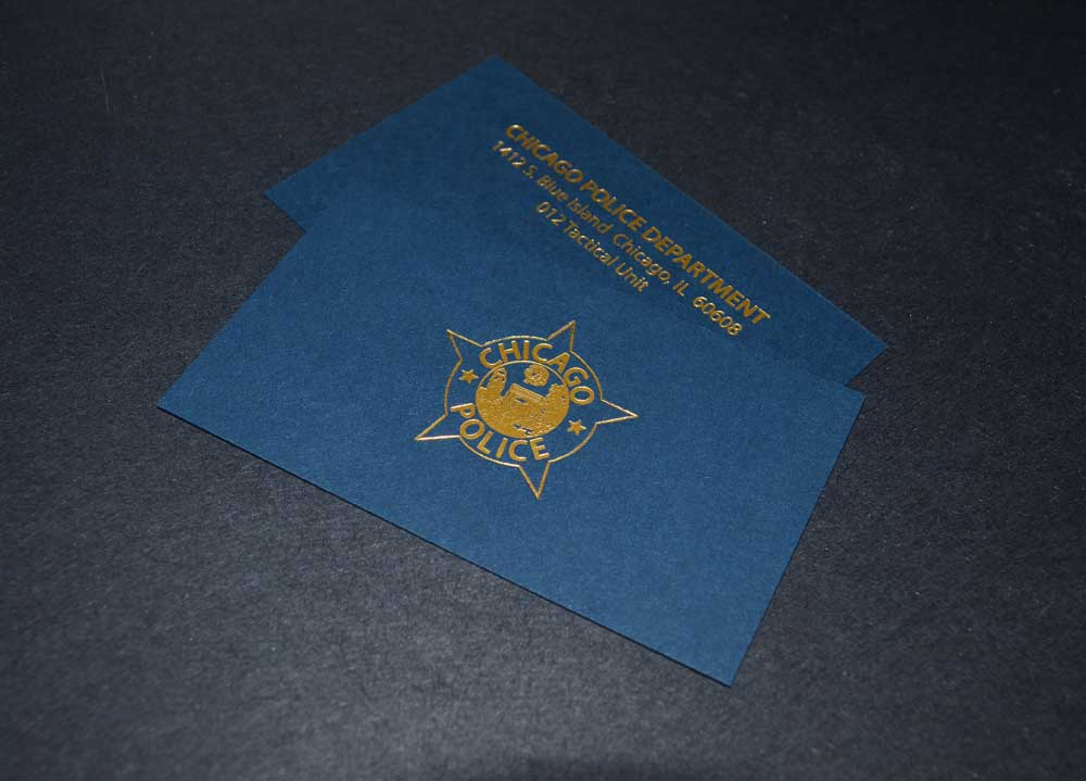 Foil stamping accucolor plus inc business card foil stamped in satin gold for the chicago police 14th district tactical colourmoves Images