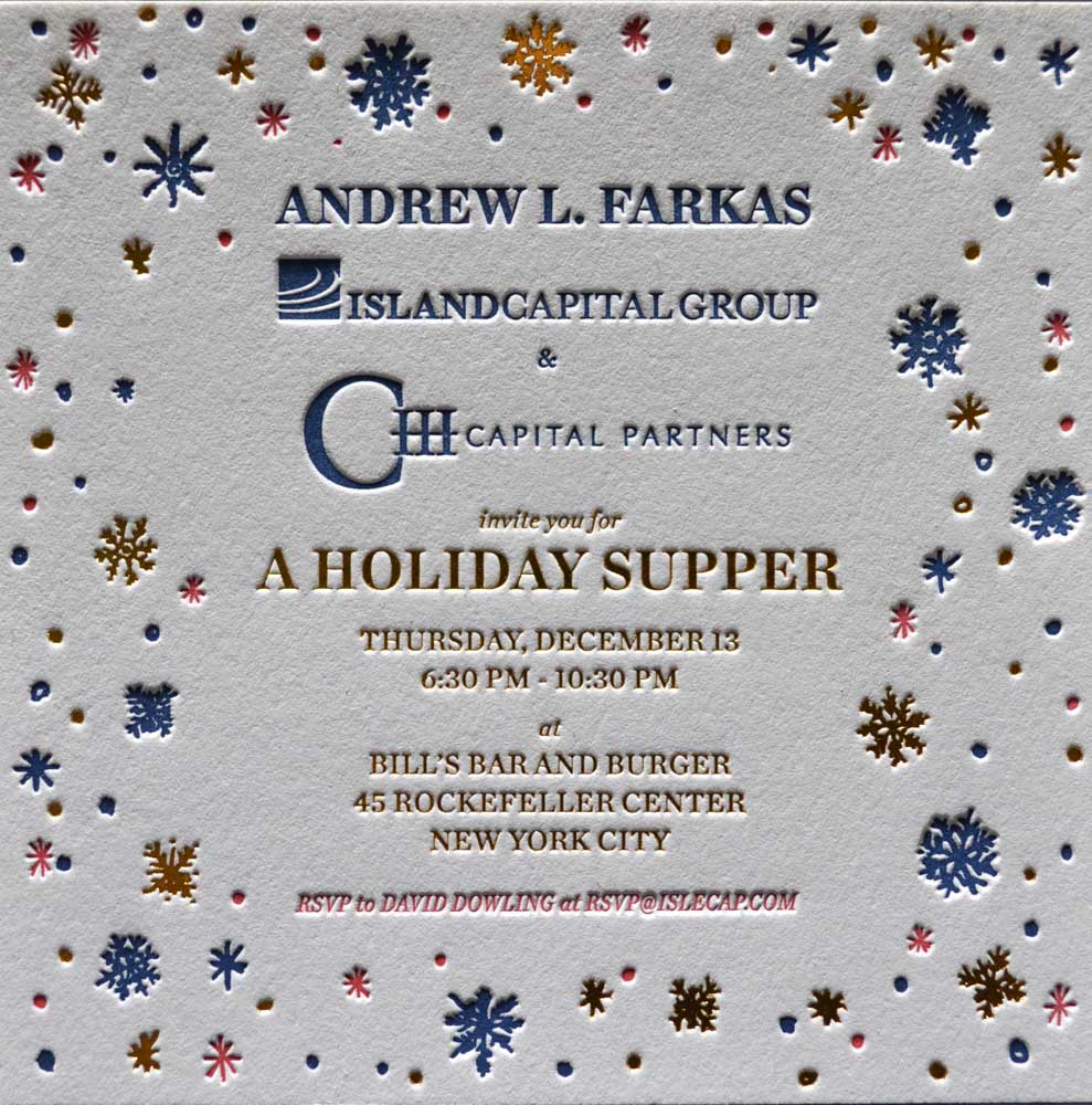 Color printing joliet - Two Color Letterpress Printed Corporate Holiday Card