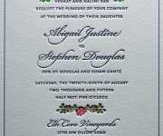 Three color letterpress printed wedding invitation.
