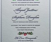 Three color letterpress printed wedding invitation.