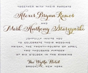 Foil stamped wedding invitation.
