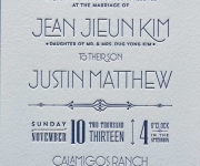 Art Deco style one color letterpress printed wedding invitation.