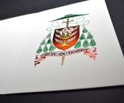 Bishop's Holiday card.  Printed in four metallic foils.