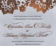Foil stamped and letterpress printed wedding invitation.