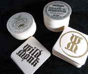 Letterpress printed drink coasters.