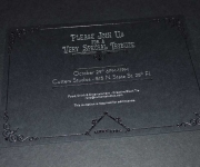 Corporate invitation, foil stamped in gloss black and satin silver.