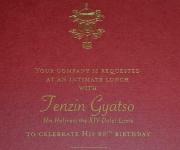 A closer view of the Dalai Lama's birthday invitation.