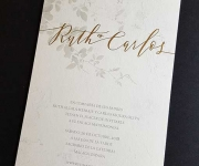 Digitally printed wedding invitation with foil for the couples names