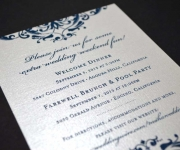 One color gloss thermography wedding invitation on pearlized linen cover stock
