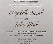 One color letterpress printed wedding invitation.