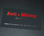 FBusiness card, foil stamped in metallic red and bright silver, on 13 point rubberized stock.