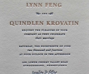 Wedding invitation, printed with one foil and one letterpress ink.