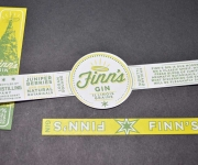 Offset printed bottle labels for Finn's Gin