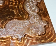 "Close up of a foil stamping die.  Acid etched in a 1/4"" thick piece of solid copper."
