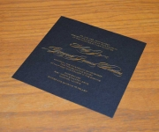 Wedding invitation.  Printed in satin gold foil on Midnight Black cover stock.