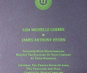 Wedding invitation, foil stamped in bright green pigment foil on gray stock.