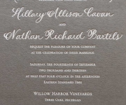Wedding invitation, white foil on a gray paper.