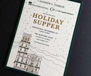 Corporate holiday dinner invitation in multiple foil colors