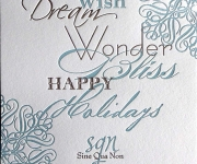 Two color letterpress printed corporate Holiday card.