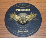 Record style invitation.  Foil stamped in gloss black and satin  gold foils and die cut.