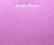 Jennifer Hudson's note card.  Foil stamped in white foil.