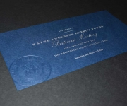 Offset printed metallic silver and blind embossed corporate save the date card
