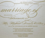 Elegant metallic thermography wedding invitation on Stardream cover paper