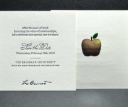 One color letterpress over three foil stamped colors, corporate save the date card.