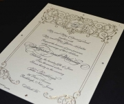 One color letterpress and one foil stamp wedding invitation press sheet.