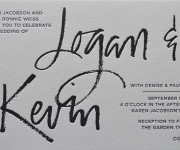 One color letterpress printed wedding invitation.