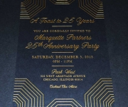 Corporate invitation.  Satin gold foil on midnight black cover stock.