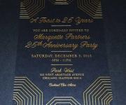Corporate invitation.  Satin gold foil on midnight black cover stock.