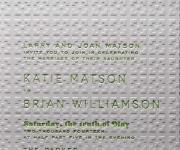 One letterpress printed ink and one blind letterpress, wedding invitation.