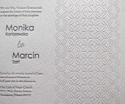 Two letterpress printed ink and one blind letterpress, wedding invitation.