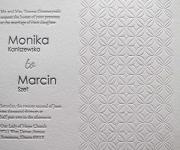 Two letterpress printed ink and one blind letterpress, wedding invitation.