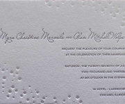One letterpress printed ink and one blind letterpress, wedding invitation.