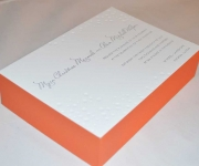 One letterpress printed ink with one blind letterpress and edge coloring, wedding invitation.