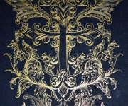 The back of the wedding invitation for Nikki Sixx of Motley Crue.  Satin gold foil on 260# Midnight Black cover stock.