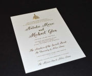 Wedding invitation, in satin gold foil and one letterpress printed ink.