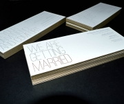 Edge colored wedding invitation suite.