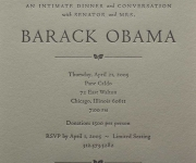 Letterpress printed fund raiser invitation for Barrack Obama.