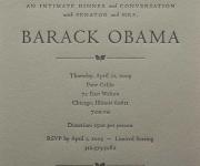 Letterpress printed fund raiser invitation for Barrack Obama.
