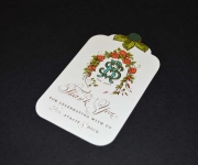 Offset printed, foil stamped and die cut gift tag