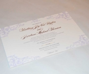 Two color letterpress printed and one foil stamped wedding invitation for Britteny Payton.