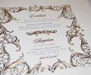 A press sheet for a wedding details card.  Foil stamped and printed in one letterpress ink.