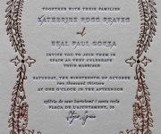 Wedding invitation.  Printed in gold foil and letterpress.