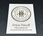 Business card.  Printed in gold foil.