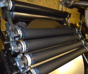 A close up of the letterpress rollers.