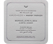 One color letterpress printed and die cut wedding invitation.