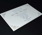 Two color letterpress printed wedding invitation.